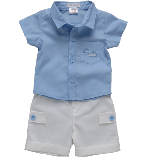 Blue Collared Shirt and White Shorts Set